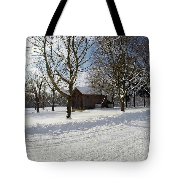 Tote Bag featuring the photograph Winter Barn by Jackson Pearson