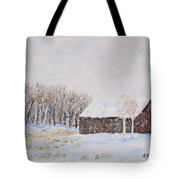 Winter Barn Tote Bag by Stanton Allaben