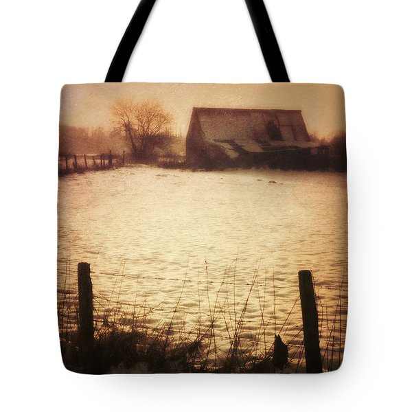 Winter Barn Tote Bag by Wim Lanclus