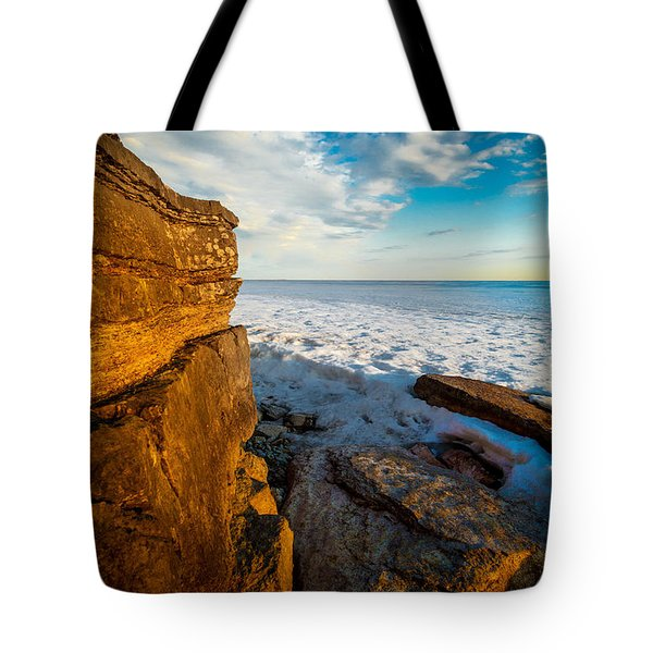 Winter Beach Sunset Tote Bag