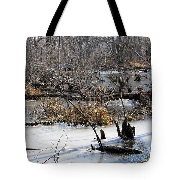 Winter Beaver Bog Tote Bag