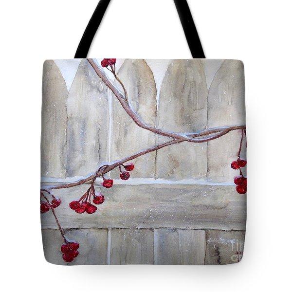 Winter Berries Watercolor Tote Bag