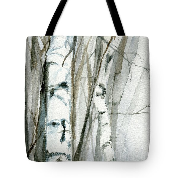 Winter Birch Tote Bag by Laurie Rohner
