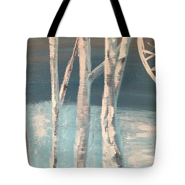Tote Bag featuring the painting Winter Birches by Paula Brown