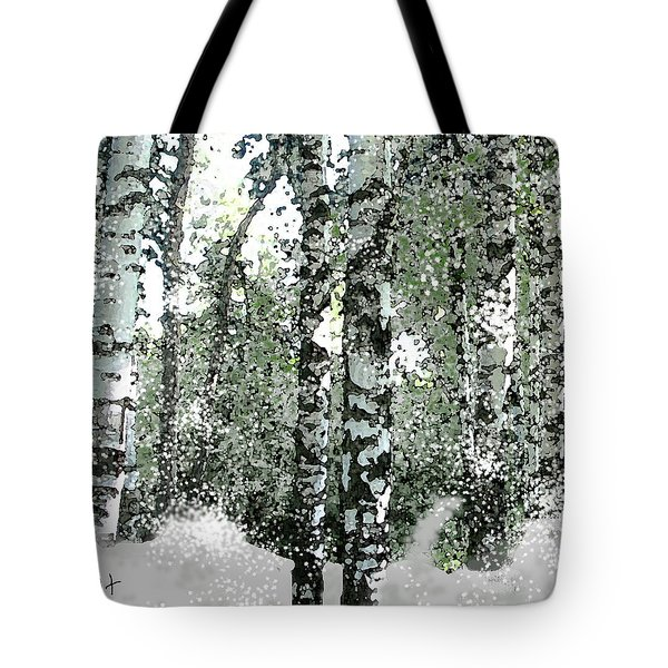 Tote Bag featuring the digital art Winter Birches by Walter Chamberlain