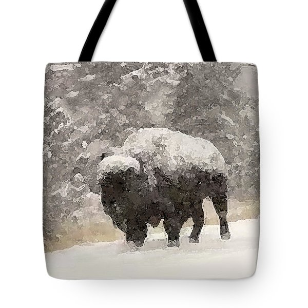 Tote Bag featuring the digital art Winter Bison by Walter Chamberlain