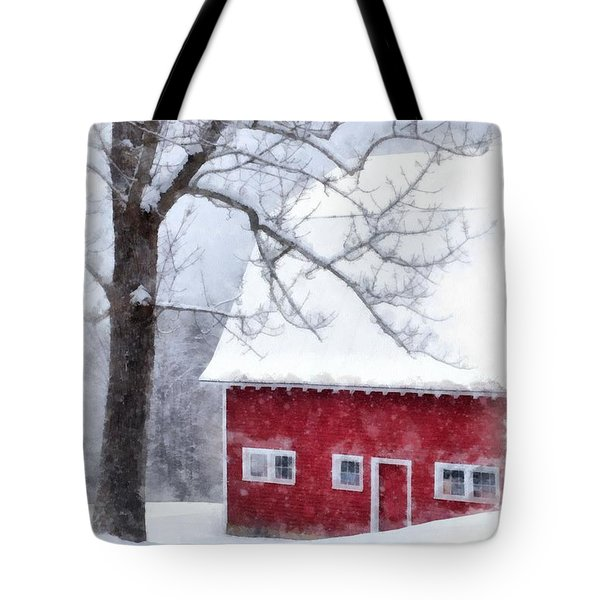 Winter Blanket Of Snow On The Farm Tote Bag