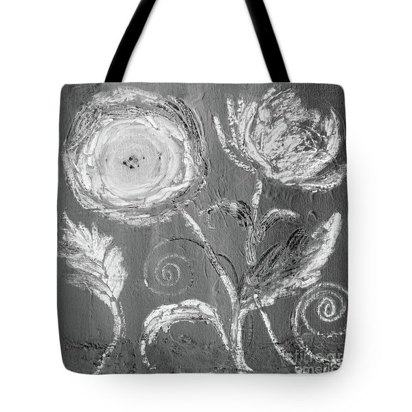 Tote Bag featuring the digital art Winter Bloom II by Robin Maria Pedrero