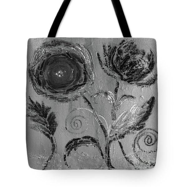 Tote Bag featuring the digital art Winter Blooms IIi by Robin Maria Pedrero