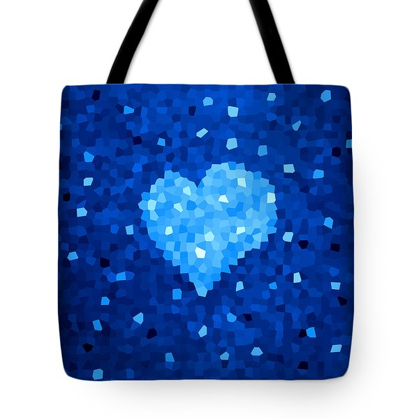 Winter Blue Crystal Heart Tote Bag