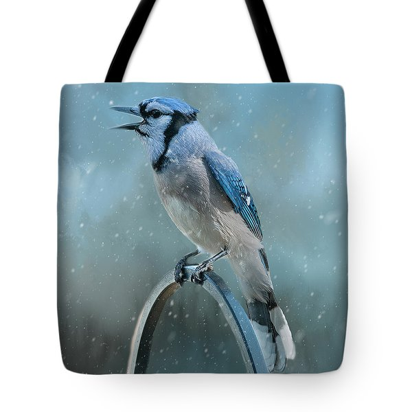 Winter Blue Jay Square Tote Bag