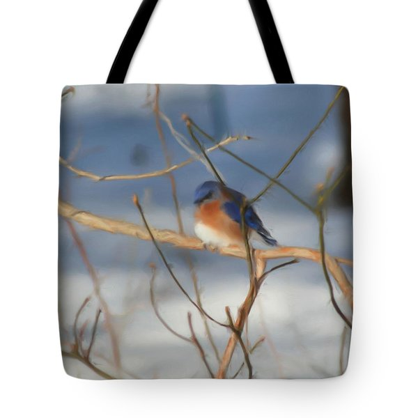 Tote Bag featuring the painting Winter Bluebird Art by Smilin Eyes  Treasures