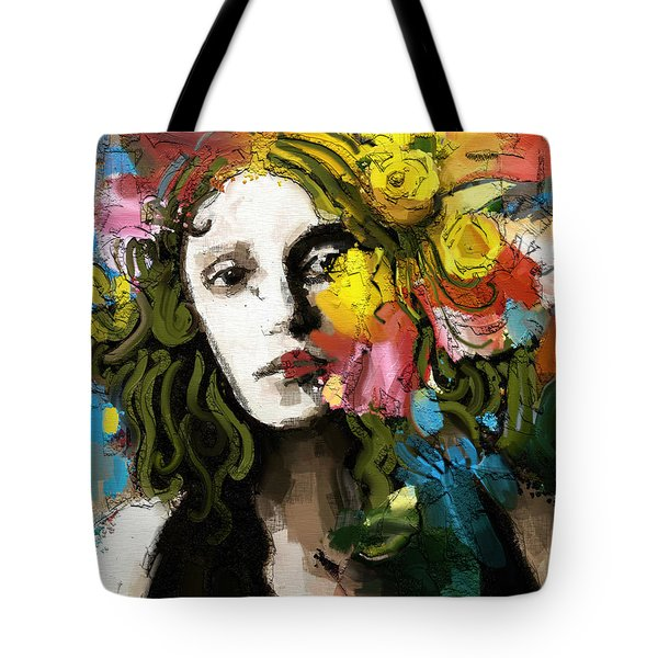 Tote Bag featuring the mixed media Winter Blues by Carrie Joy Byrnes