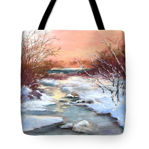 Tote Bag featuring the painting Winter Brook by Jack Skinner