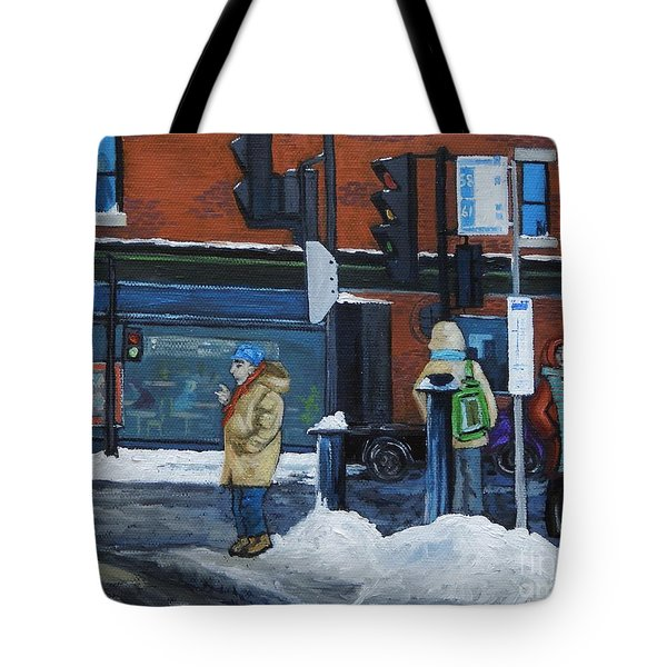 Winter Bus Stop Tote Bag