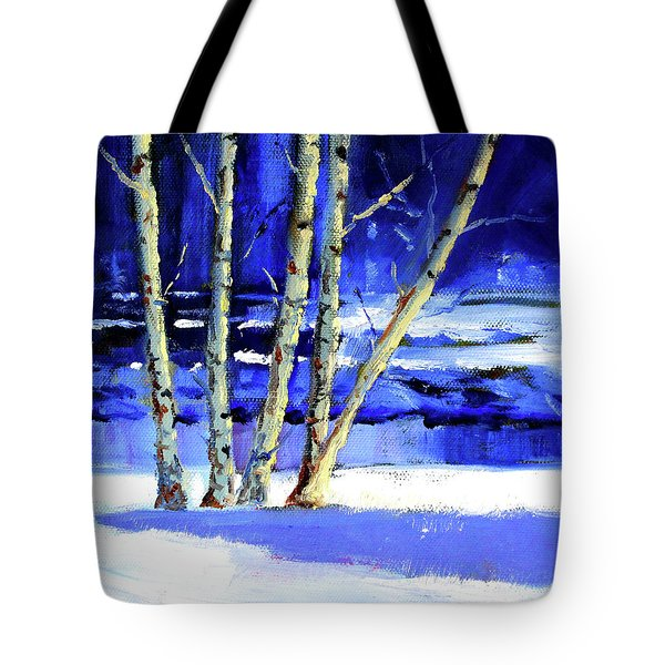 Tote Bag featuring the painting Winter By The River by Nancy Merkle