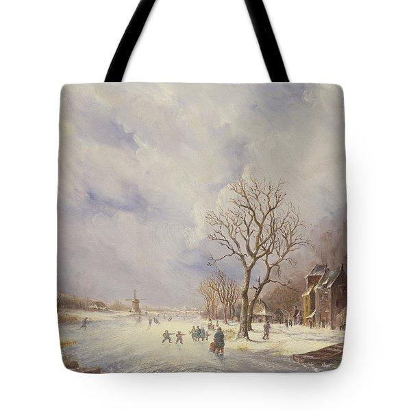 Winter Canal Scene Tote Bag by Jan Lynn