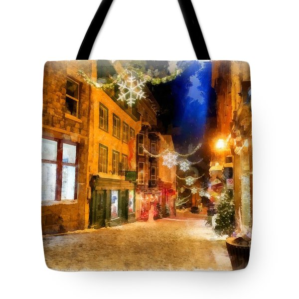 Winter Carnival Old Quebec City Lower Town Tote Bag