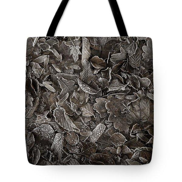 Winter Carpet Of Frozen Leaves Tote Bag