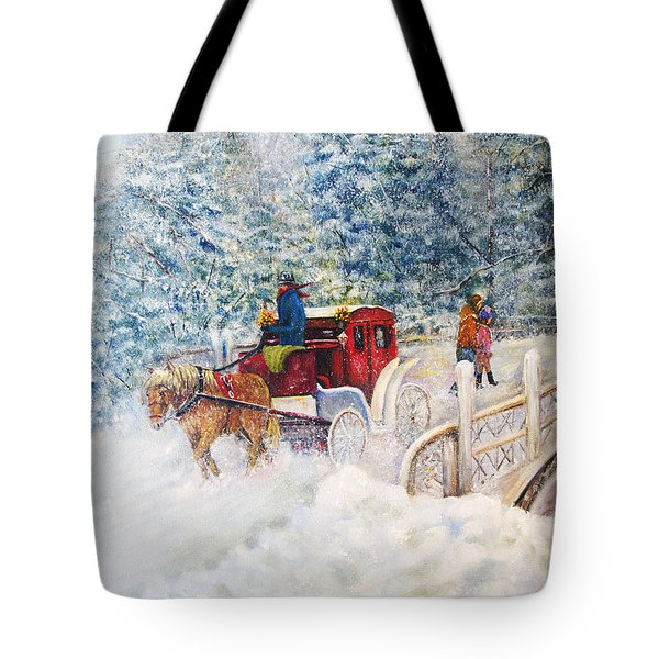 Winter Carriage In Central Park Tote Bag