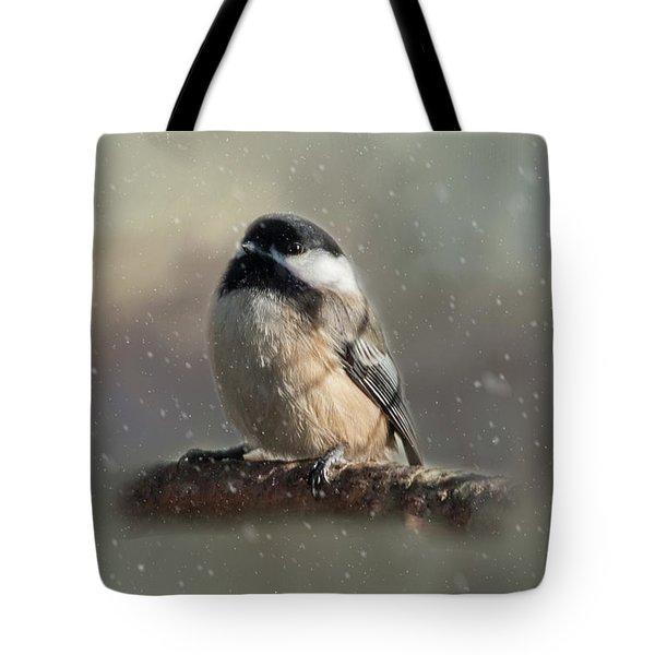 Winter Chicadee Tote Bag