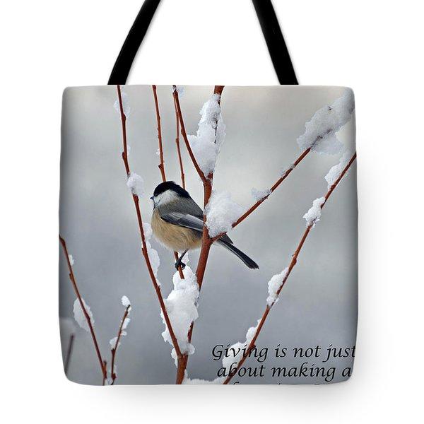 Winter Chickadee Giving Tote Bag