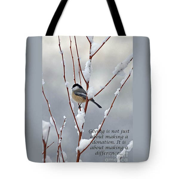 Winter Chickadee Giving Tote Bag by Diane E Berry