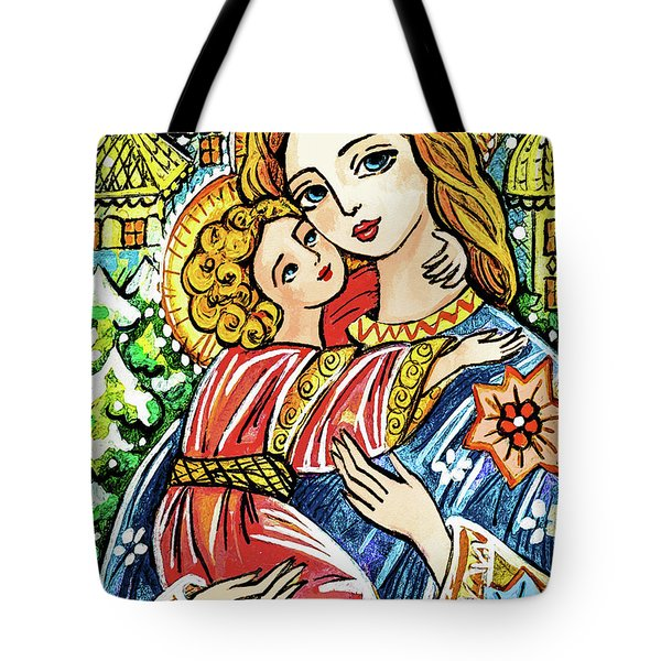 Tote Bag featuring the painting Winter Church by Eva Campbell
