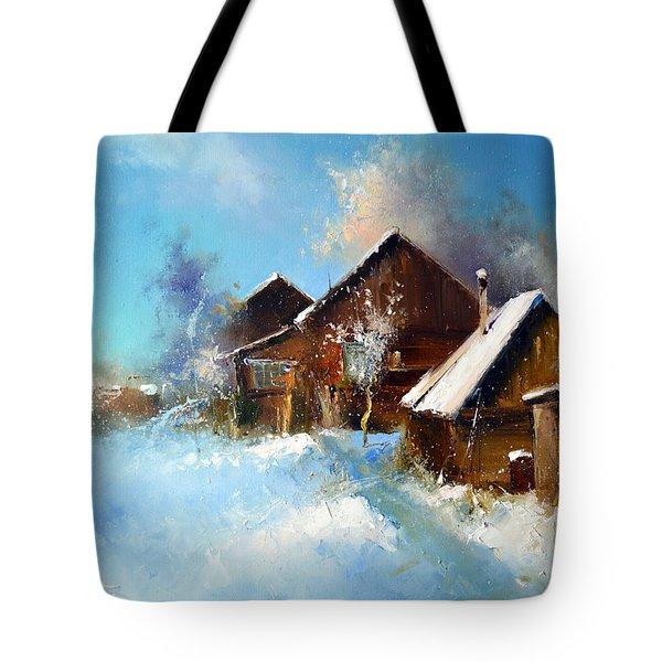 Winter Cortyard Tote Bag