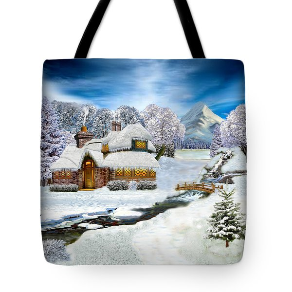 Winter Country Cottage Tote Bag