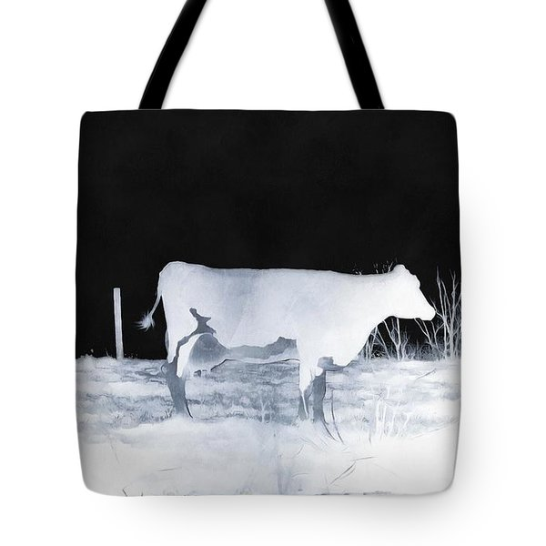 Tote Bag featuring the photograph Winter Cow - Cow by Janine Riley
