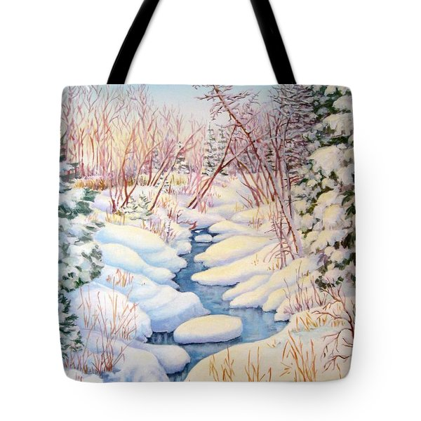 Tote Bag featuring the painting Winter Creek 1  by Inese Poga