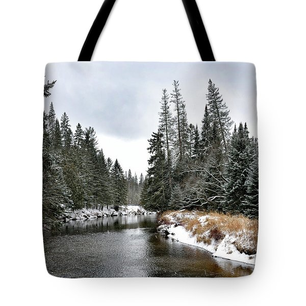 Tote Bag featuring the photograph Winter Creek In Adirondack Park - Upstate New York by Brendan Reals