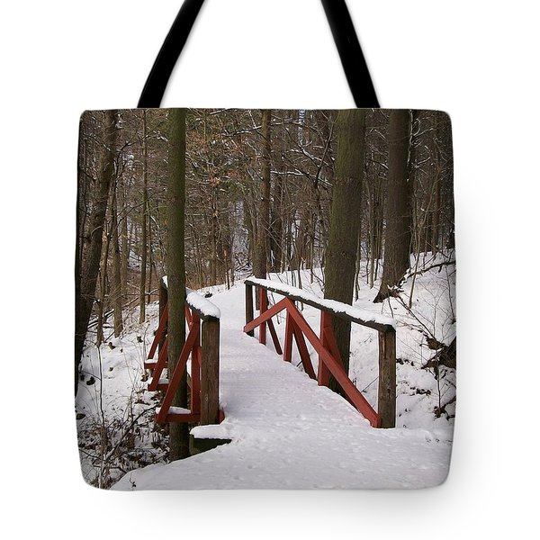 Tote Bag featuring the photograph Winter Crossing by Sara  Raber