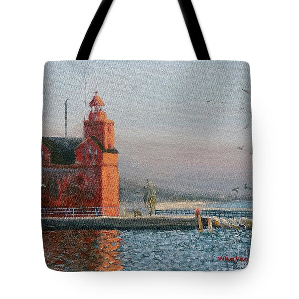 Winter Day At Big Red Tote Bag