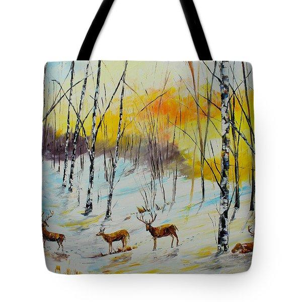 Winter Deer Tote Bag