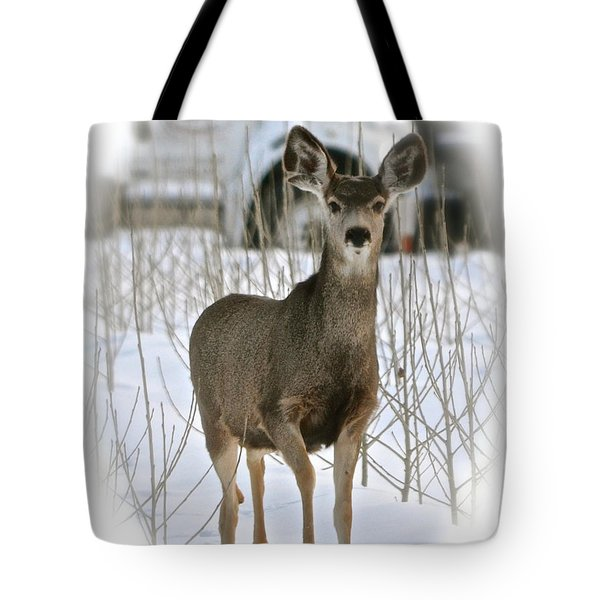 Winter Deer On The Tree Farm Tote Bag