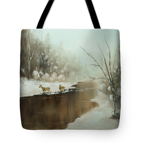 Winter Deer Run Tote Bag