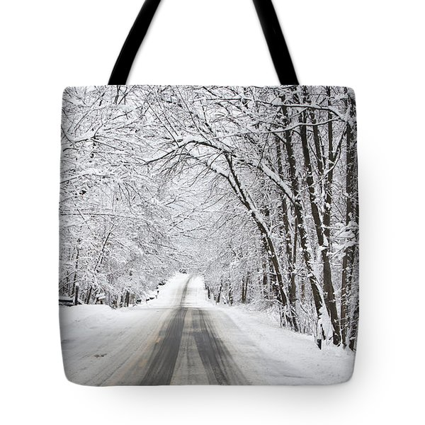 Winter Drive On Highway A Tote Bag