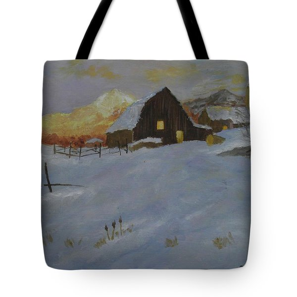 Winter Dusk On The Farm Tote Bag