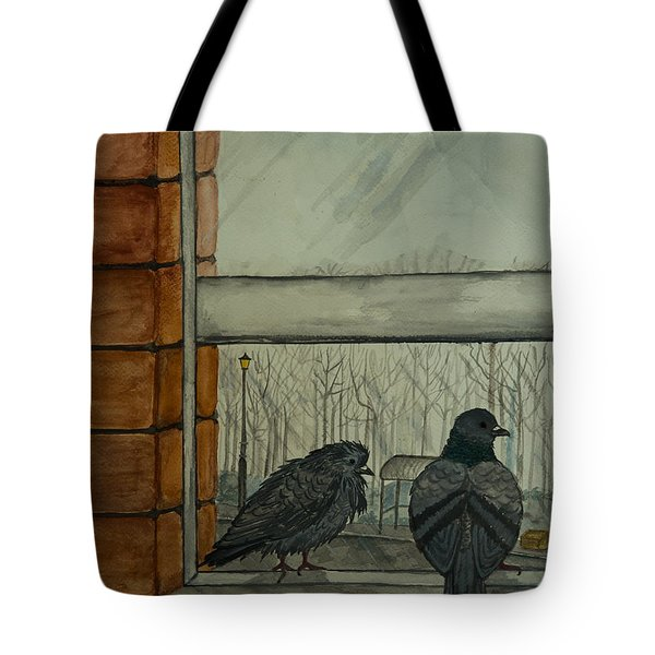 Tote Bag featuring the painting Winter by Elizabeth Mundaden