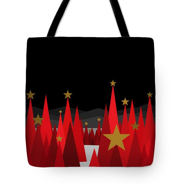 Winter Eve Stars Tote Bag by Val Arie