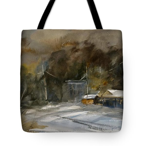 Winter Evening In A Small Town Tote Bag