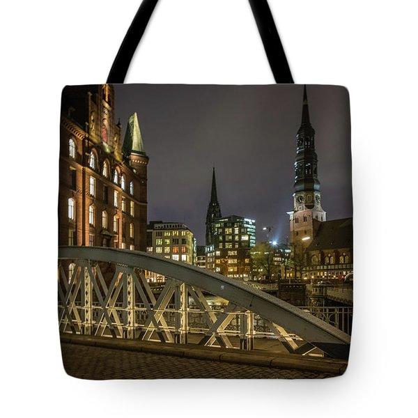 Winter Evening In Hamburg  Tote Bag
