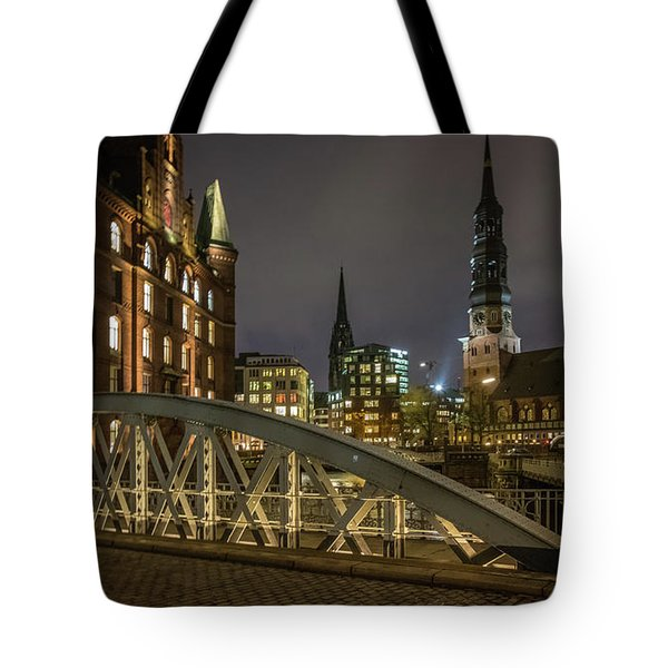 Winter Evening In Hamburg  Tote Bag
