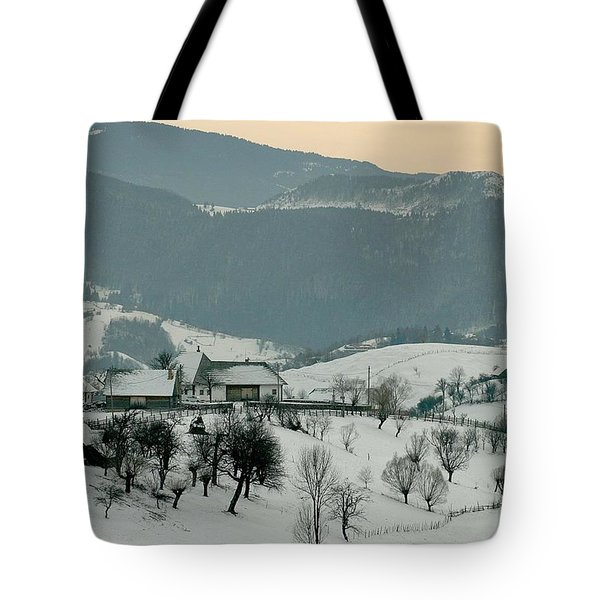 Winter Evening In The Mountains Tote Bag