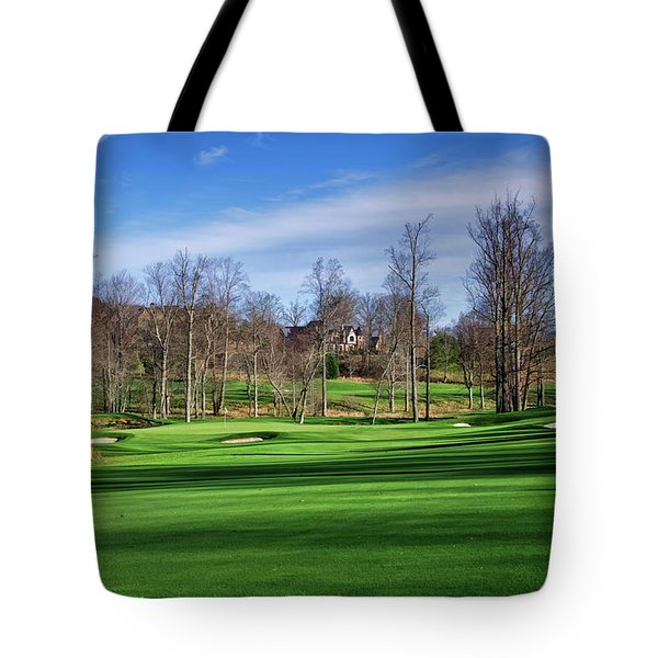 Tote Bag featuring the photograph Winter Fairway Shadows by Claire Turner