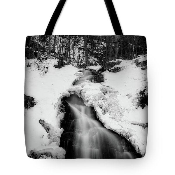 Tote Bag featuring the photograph Winter Falls With Sun by Alan Raasch