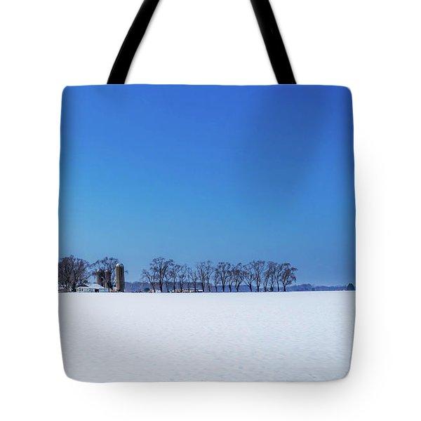 Winter Farm Blue Sky Tote Bag