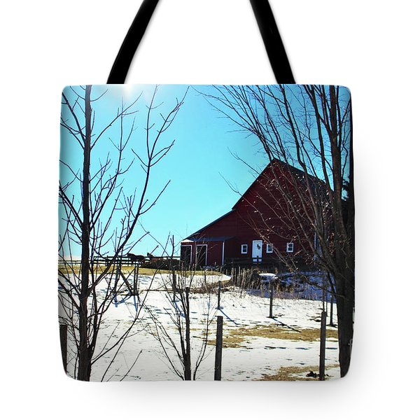 Winter Farm House Tote Bag